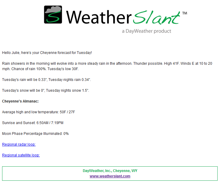 WeatherSlant Email Forecast Sample